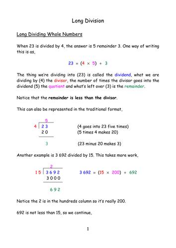 Math Worksheets » Long Division Math Worksheets Pdf - Free ...