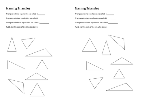 Naming Triangles by stericker Teaching Resources TES – Isosceles Triangle Worksheet