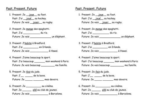 past present future worksheet french by abroomhead teaching resources. Black Bedroom Furniture Sets. Home Design Ideas