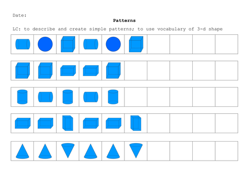 3d shape repeating patterns by renosparks Teaching Resources TES – Shape Pattern Worksheets