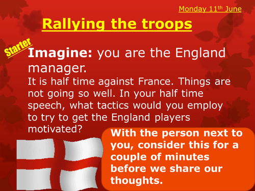 Rallying the troops - Football & Henry V