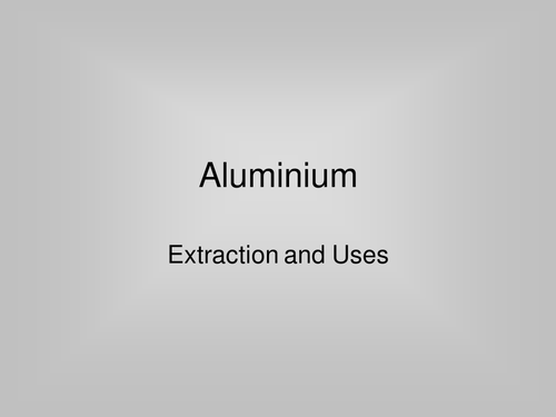 The Extraction of Aluminium