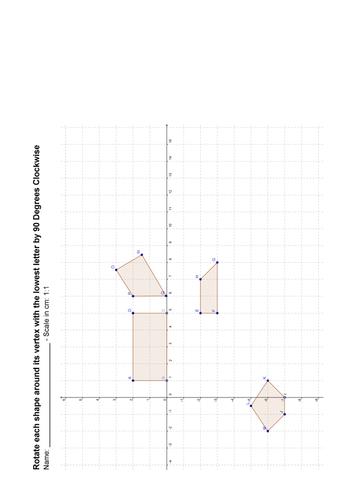 Maths: Describing rotations worksheet by Tristanjones