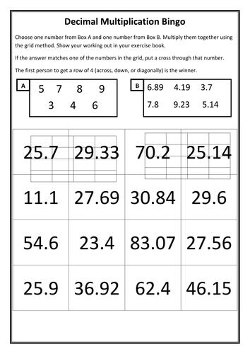 Multiplying Decimals Bingo By Fionajones88 Teaching