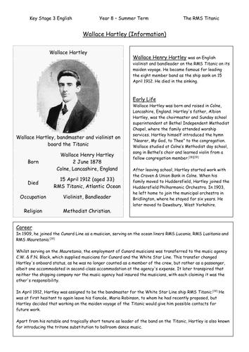 Wallace Hartley Comprehension Activity