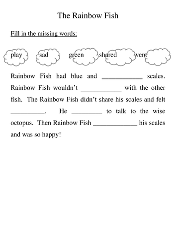 the rainbow fish by cinderella1 teaching resources tes
