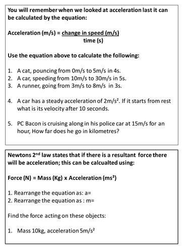 force, mass and acceleration by aaron6 - Teaching Resources - Tes