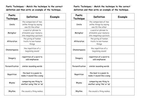 Poetic Techniques Mix and Match by sherish Teaching Resources Tes – Elements of Poetry Worksheet