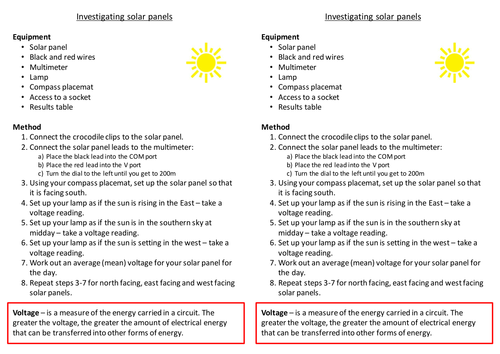 Investigating solar panels - worksheet | Teaching Resources