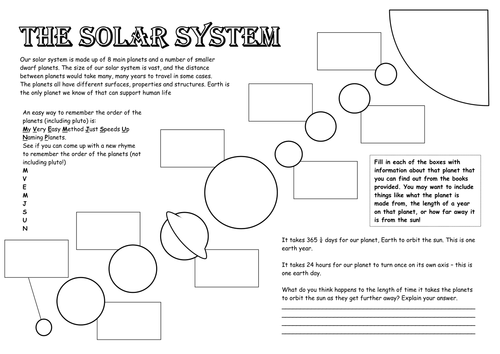 The Solar System by TashS85 Teaching Resources Tes – Solar System Worksheets