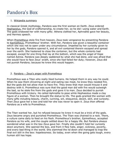pandoras box myth story