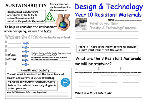 Classroom Design For Esl Students ~ Resistant materials worksheet by rdln teaching