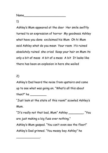 Punctuating Dialogue Worksheet Ks2 - Worksheets