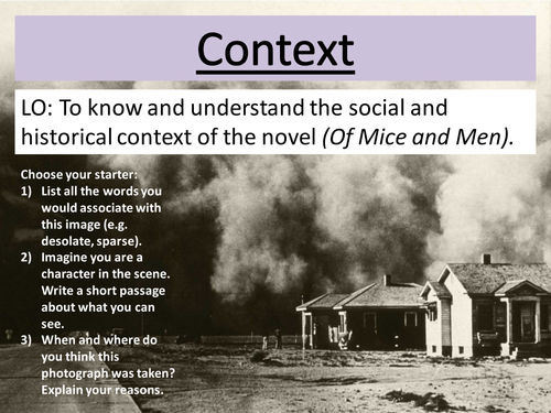 'Of Mice and Men' - historical context (pt 1/4)