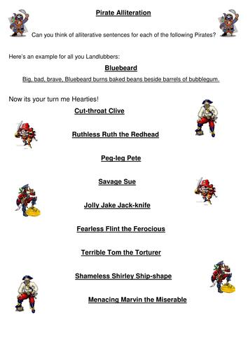 Pirate Alliteration By Davisonl Teaching Resources Tes