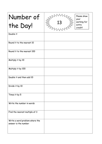 Number of the Day by aimeequicks - Teaching Resources - Tes
