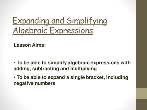 Simplifying algebra and expanding brackets by catrynw - Teaching ...