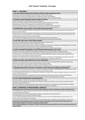 New Teachers Standards Evidence Tracker Template By
