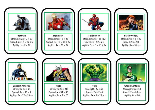 Maths Solving Equations Top Trumps Adaptable By Dusher
