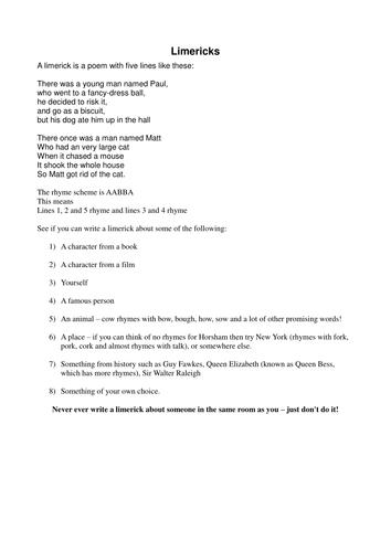 TES PRIMARY PLUS: WRITING LIMERICKS by TES_Community - Teaching ...