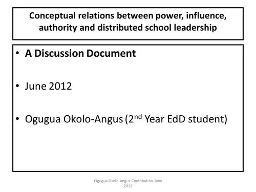 Distributed School Leadership
