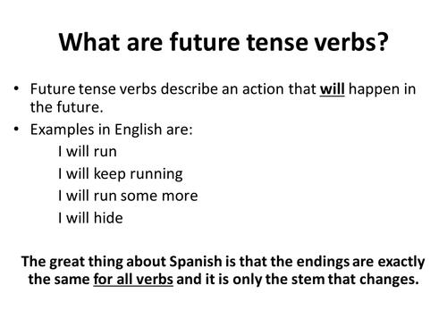 Spanish Future Tense Self Marking By Darbonator