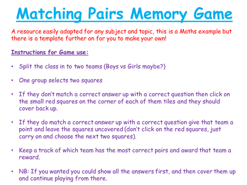 maths matching pairs memory game by tomalley4 teaching resources tes