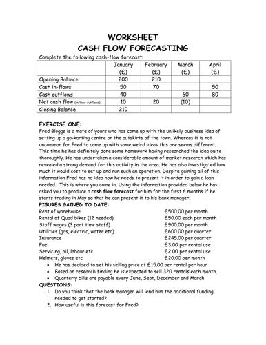 gcse unit 1 cash flow forecasting analysis by mrs costa