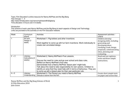 Nanny McPhee and The Big Bang Study Guide
