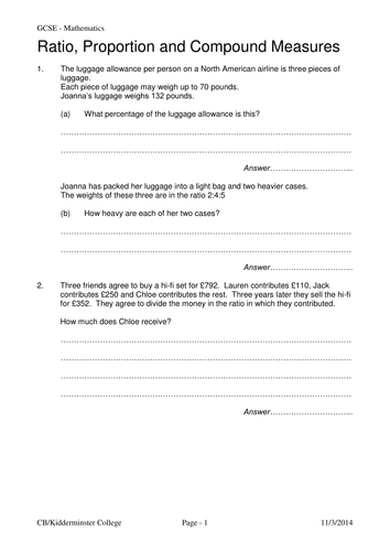 Maths ratio and proportion worksheet by colinbillett teaching maths ratio and proportion worksheet by colinbillett teaching resources tes ibookread Read Online