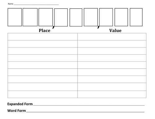 Place Value Worksheet by krystalrthomas - Teaching Resources - TES
