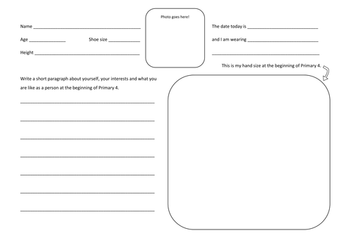 Time Capsule First Week of term writing idea by googlieeye – Time Capsule Worksheet