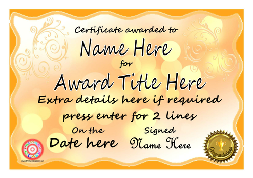 All kinds of editable certificates