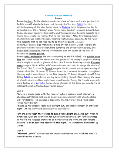 romeo and juliet minor character essay Romeo and juliet compare and contrast essay romeo and juliet depicts a but the movie could have been a lot more enticing if it weren't for those minor.