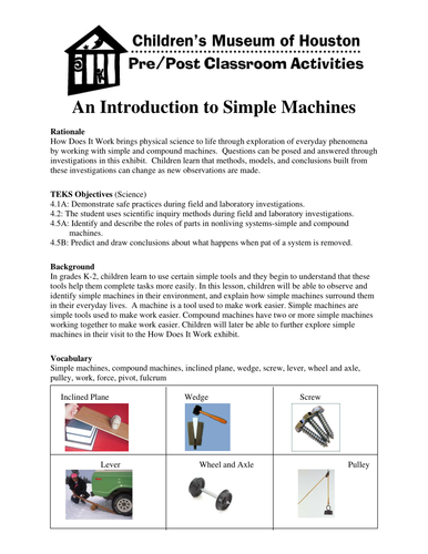 An Introduction to Simple Machines