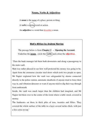 Nouns Verbs Amp Adjectives By Thewriterswife Teaching border=