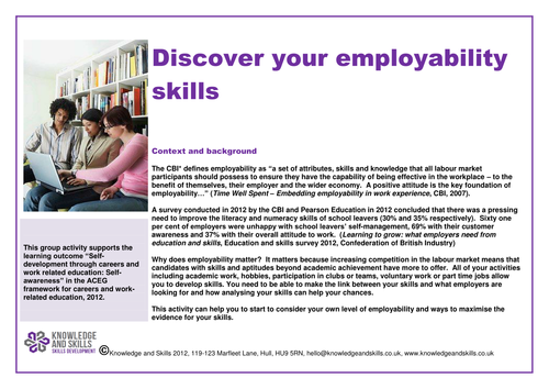 Discover your employability skills by knowledgeandskills – Employability Skills Worksheets
