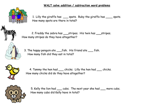 KS1 Addition and Subtraction Word Problems by barnes24 Teaching – Subtraction Worksheets Ks1