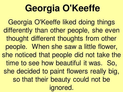 quick intro to georgia o'keeffe for year 7