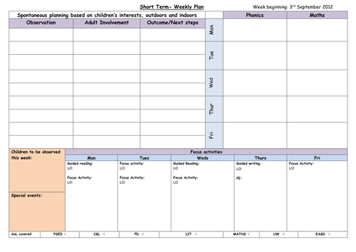 Weekly plan template eyfs by chilli bean teaching for Week long lesson plan template
