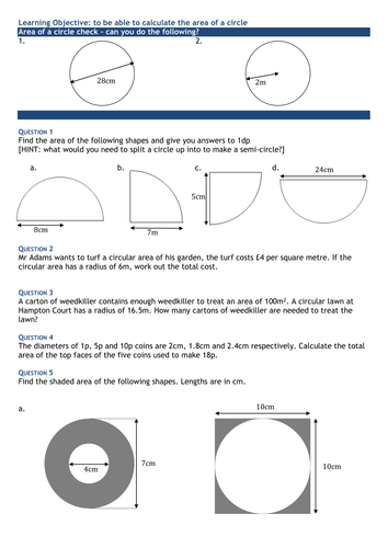 Area Of A Circle Further Questions Worksheet By Swaller25