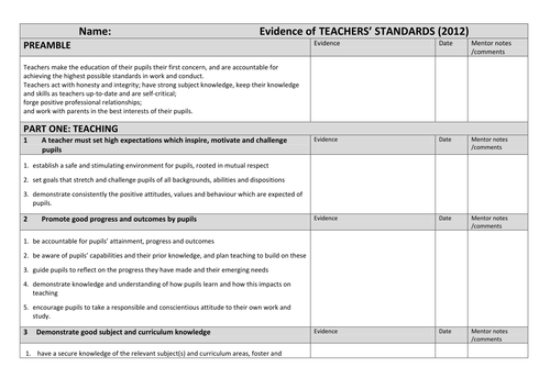 NQT Evidence grid with new standards (May 2012)