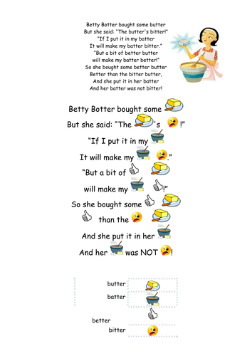 Tongue twister- Betty Botter with pictures