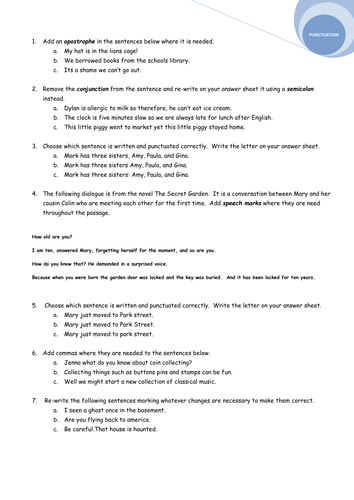 Grammar and Punctuation worksheet/test by avrildcamp - Teaching ...