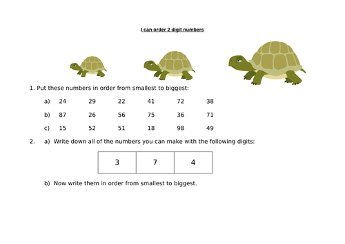 Ordering 2-digit numbers by kavanagh_k - Teaching Resources - Tes