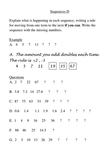 Worksheets Number Sequence Worksheets number sequences by goofygoober teaching resources tes d doc