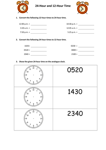 Converting 24 Hour And 12 Hour Time By Snasato Teaching Resources