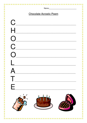 chocolate acrostic poem worksheet by juliannebritton teaching resources tes. Black Bedroom Furniture Sets. Home Design Ideas