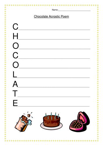 Chocolate Acrostic Poem Worksheet by juliannebritton - Teaching ...