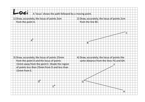 Loci Worksheets